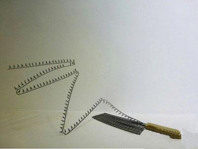 刀片上的剪影雕塑